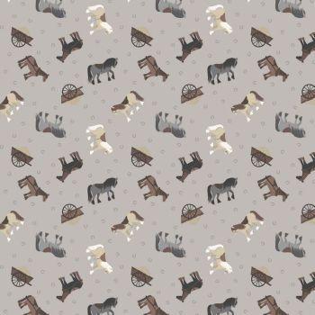 REMNANT 49cm Tiny Horses on Grey Horseshoe Small Things On The Farm Horse Animal Cotton Fabric