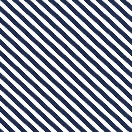 Sugar Stripe Midnite Navy Blue and White Monochrome Bias Stripes Quilt Bind