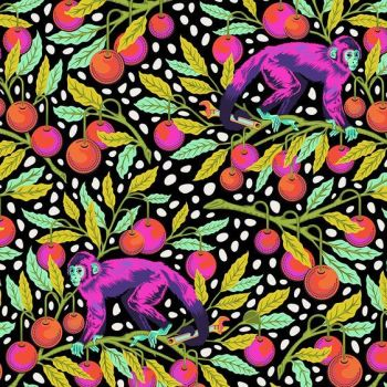 IN STOCK Tula Pink Monkey Wrench Guava Floral Monkeys Flower Botanical Cotton Fabric