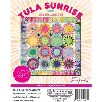 IN STOCK Monkey Wrench Tula Pink Sunrise Quilt Pattern & Complete EPP English Paper Piecing Paper Piece Pack
