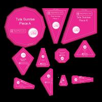 "Tula Pink Sunrise Quilt 11 Piece Acrylic Fabric Cutting Templates with 3/8"" Seam Allowance"