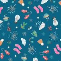 Whatever the Weather Seasons Winter on Dark Blue Icons Scatter Snowman Holly Mittens Cotton Fabric