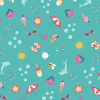 Whatever the Weather Seasons Summer on Turquoise Icons Scatter Icecream Bee Cherries Cotton Fabric