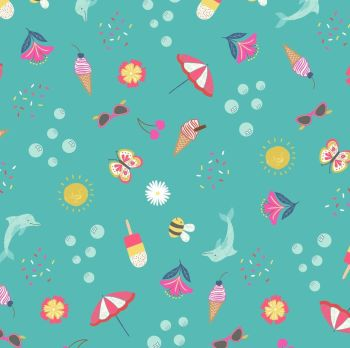 Whatever the Weather Seasons Summer on Tuquoise Icons Scatter Icecream Bee Cherries Cotton Fabric