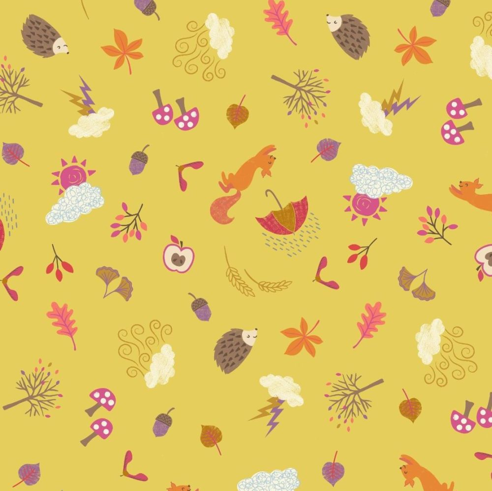 Whatever the Weather Seasons Autumn on Yellow Icons Scatter Leaf Squirrel H