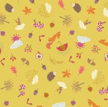 Whatever the Weather Seasons Autumn on Yellow Icons Scatter Leaf Squirrel Hedgehog Cotton Fabric
