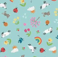 Whatever the Weather Seasons Spring on Duck Egg Blue Icons Scatter Lamb Bunny Rainbow Cotton Fabric