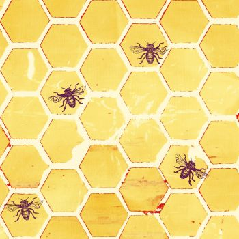 Pollinator Bumblehoney Bee Geometric Honeycomb Yellow Honey Bees Hexagon Cotton Fabric