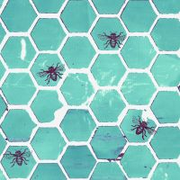 Pollinator Bumblehoney Bee Geometric Honeycomb Aqua Turquoise Honey Bees Hexagon Cotton Fabric