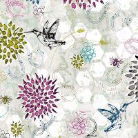 Pollinator Dance Gray Mist Grey Hummingbird Floral Bee Geometric Honeycomb Honey Bees Hexagon Cotton Fabric