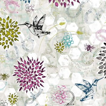 Pollinator Dance Gray Mist Grey Hummingbird Floral Bee Geometric Honeycomb Honey Bees Hexagon Cotton Fabric
