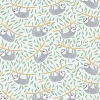 Born To Be Wild Hanging In There Mist Sloths Dear Stella Sloth Cotton Fabric