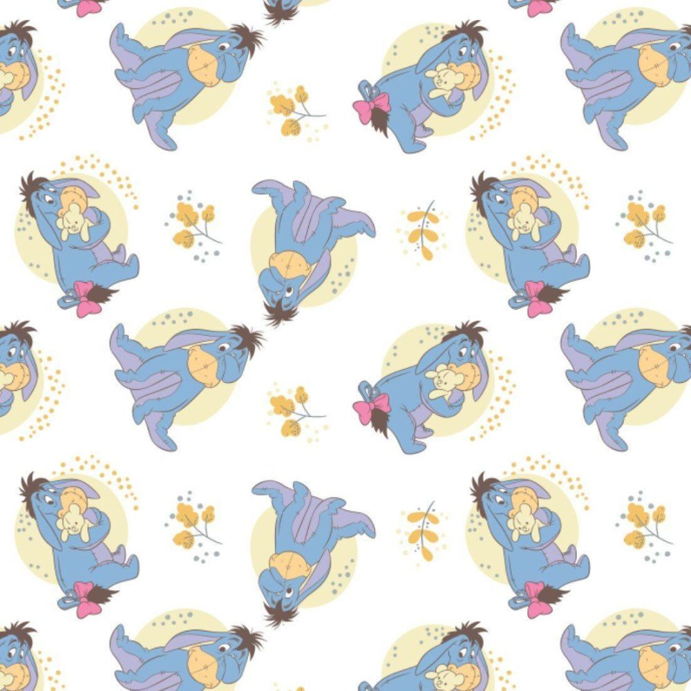 Disney Winnie the Pooh Eeyore Nursery Character White Cotton Fabric