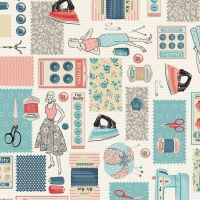 Stitch In Time Montage Retro Makower Sewing Machine Scissors Swatch Buttons Cotton Fabric