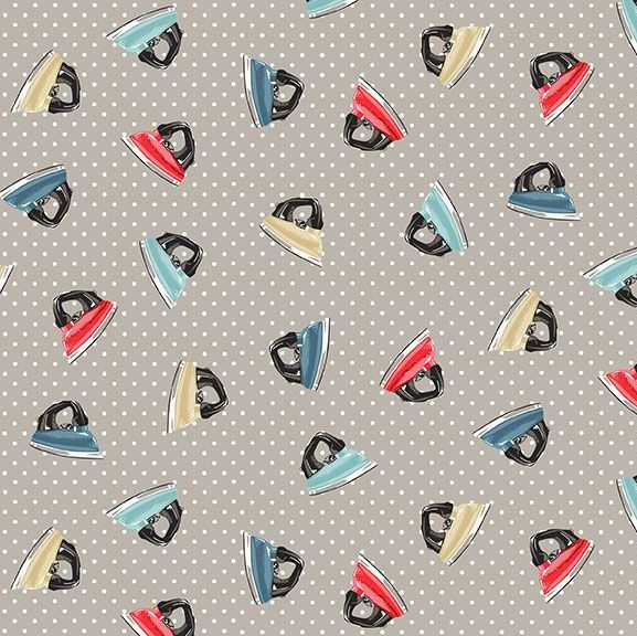 Stitch In Time Irons Grey Retro Makower Sewing Iron Cotton Fabric