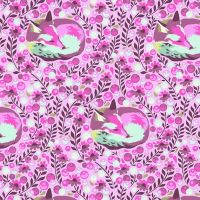 RARE Tula Pink Chipper Fox Nap Raspberry Cotton Fabric