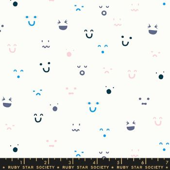 Anagram Kimoji Multi Smiley Face Ruby Star Society Kimberly Kight Cotton Fabric