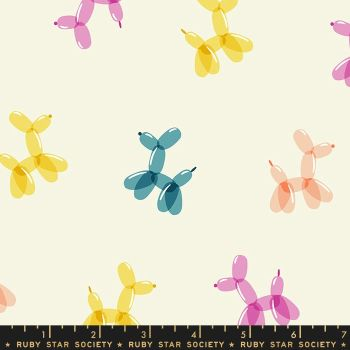 PRE-ORDER Pop Balloon Animals Cream Soda Ruby Star Society Rashida Coleman-Hale Cotton Fabric