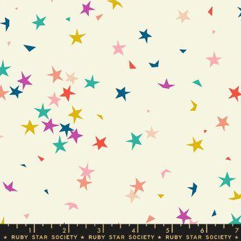 Pop Starfetti Cream Soda Stars Ruby Star Society Rashida Coleman-Hale Cotton Fabric