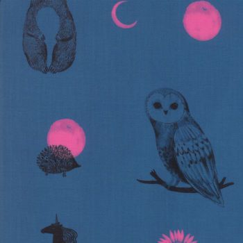 Crescent Forest Dot Teal Owl Hedgehog Bear Rabbit Woodland Ruby Star Society Sarah Watts Cotton Fabric