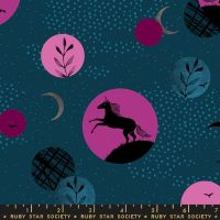 Crescent Unicorn Moon Dark Teal Ruby Star Society Sarah Watts Cotton Fabric