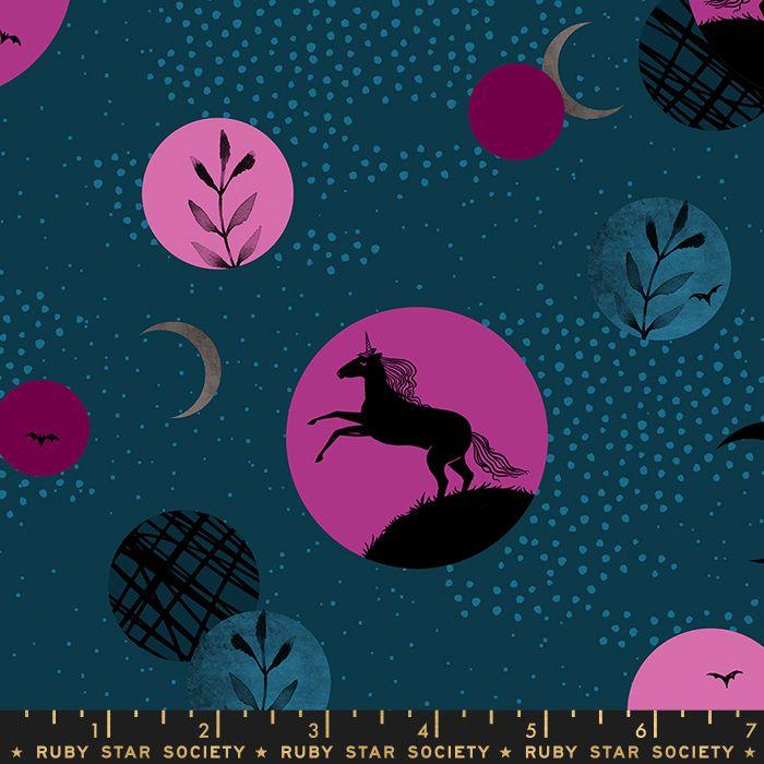 PRE-ORDER Crescent Unicorn Moon Teal Ruby Star Society Sarah Watts Cotton F