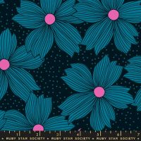 Crescent Night Bloom Teal Floral Flower Ruby Star Society Sarah Watts Cotton Fabric