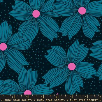PRE-ORDER Crescent Night Bloom Teal Floral Flower Ruby Star Society Sarah Watts Cotton Fabric