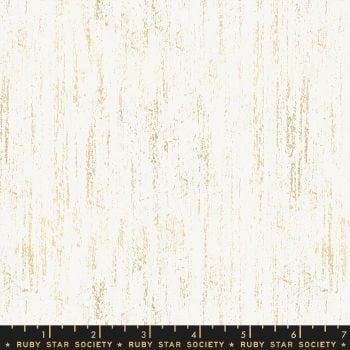 PRE-ORDER Brushed Gold White Metallic Gold Texture Ruby Star Society Sarah Watts Cotton Fabric