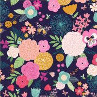 Summer Dance Flowers Bee Butterfly Floral Botanical Navy Cotton Fabric