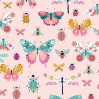 Summer Dance Insects Butterfly Beetle Dragonfly Ladybird Bugs Pink Cotton Fabric