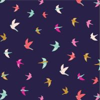 Summer Dance Birds Swallow Bird Navy Cotton Fabric