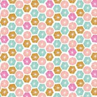 Summer Dance Geometric Hexagons Circles Discs Hexies Shapes Cotton Fabric