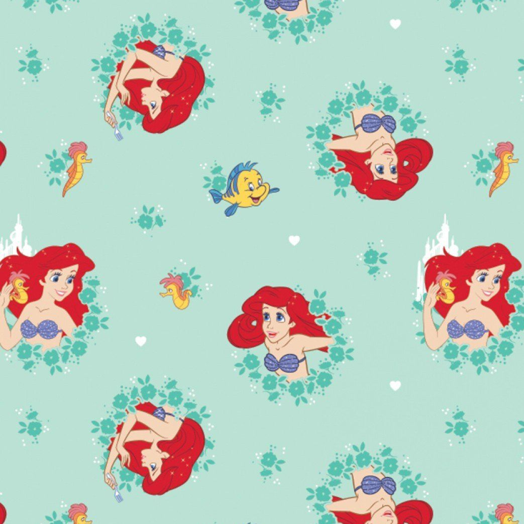 Disney Princess Little Mermaid Ariel Flounder Sebastian Aqua Teal Cotton Fa