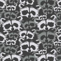Metsa Raccoons Pesue Carbon Monochrome Forest Raccoon Faces Finlayson Cotton Fabric