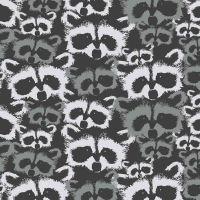 Metsa Raccoons Pesue Carbon Monochrome Forest Raccoon Faces Finlayson Cotton Fabric