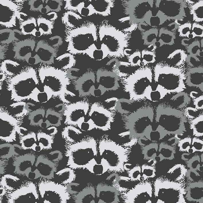 Geo Forest Raccoons Geometric Raccoon Triangles Cotton Fabric