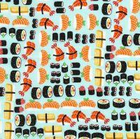 Sushi Ngiri Maki Fish Japanese Food Restaurant Eating Timeless Treasures Cotton Fabric