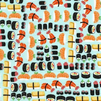 Sushi Ngiri Maki Fish Japanese Food Restaurant Eating Timeless Treasures Cotton Fabric