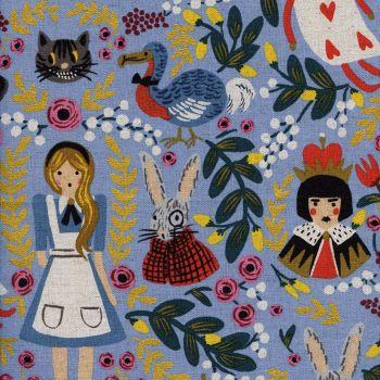RARE Rifle Paper Co. Wonderland Alice in Wonderland on Light Blue with Metallic Gold Cotton Linen Canvas Fabric