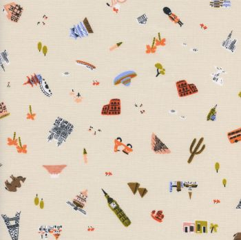 Rifle Paper Co. Amalfi Explorer Natural World Landmark Travel Vacation Holiday Adventure Cotton Fabric