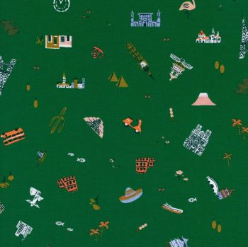 Rifle Paper Co. Amalfi Explorer Hunter Green World Landmark Travel Vacation Holiday Adventure Cotton Fabric