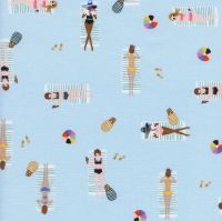 Rifle Paper Co. Amalfi Sun Girls Sky Blue Sunbathing Ladies Sunbathers Beach Travel Vacation Holiday Cotton Fabric