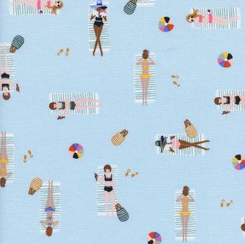 Rifle Paper Co. Amalfi Sun Girls Sky Blue Sunbathing Ladies Sunbathers Beach Travel Vacation Holiday Cotton Fabric