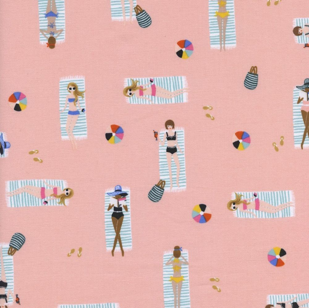 Rifle Paper Co. Amalfi Sun Girls Coral Pink Sunbathing Ladies Sunbathers Be