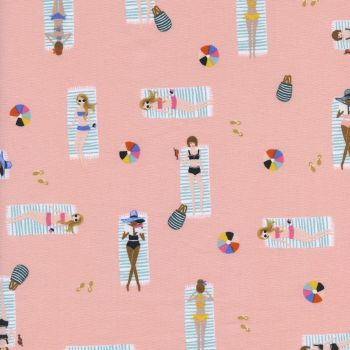 Rifle Paper Co. Amalfi Sun Girls Coral Pink Sunbathing Ladies Sunbathers Beach Travel Vacation Holiday Cotton Fabric