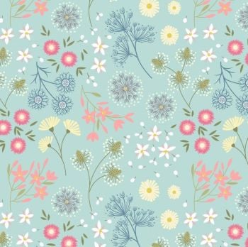 Purbeck Flowers on Light Aqua Blue From Old Harry Rocks Floral Botanical Cotton Fabric