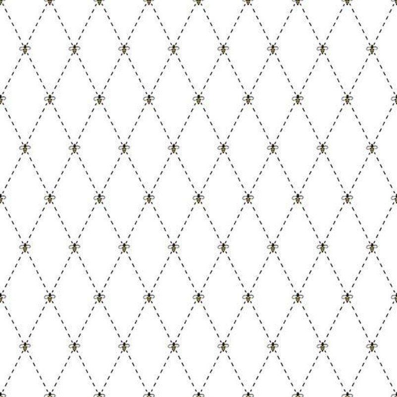 Honey Run Bee Diamond White Geometric Low Volume Bees Cotton Fabric
