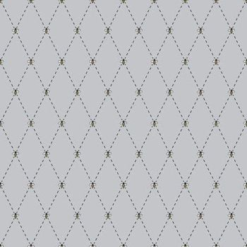 Honey Run Bee Diamond Grey Geometric Gray Bees Cotton Fabric