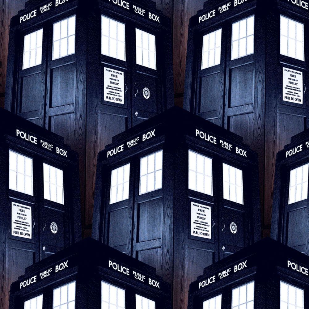 Doctor Who Packed Tardis Space Phone Booth BBC Cotton Fabric